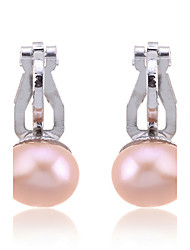 Women's Clip Earrings Fashion Pearl Imitation Pearl Silver Plated Pink Pearl Black Pearl Jewelry For Party Daily Casual