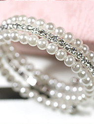cheap -Women's Pearl Imitation Pearl Rhinestone Wrap Bracelet - Multi Layer White Bracelet For Daily Casual