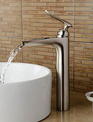 abordables -Moderne Décoration artistique/Rétro Set de centre Jet pluie Soupape céramique 1 trou Mitigeur un trou Nickel brossé, Robinet lavabo