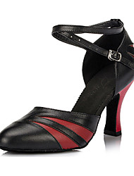 "Women's Latin Ballroom Leather Heel Indoor Buckle Chunky Heel Black and Red Black and Gold 2"" - 2 3/4"" Customizable"