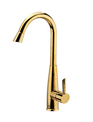 Contemporary Tall/­High Arc Deck Mounted Waterfall Ceramic Valve Single Handle One Hole Ti-PVD , Kitchen faucet