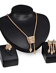 povoljno -Žene Kubični Zirconia Pozlaćeni Imitacija dijamanta Nakit Set Füllbevalók Ogrlice prsten - Luksuz Vintage Zabava Posao Moda Europska Zlato