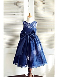 A-Line Tea Length Flower Girl Dress - Lace Satin Sleeveless Jewel Neck with Bow(s) Sash / Ribbon by LAN TING BRIDE®