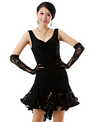 cheap -Latin Dance Outfits Women's Performance Silk Ruffles Dress Gloves