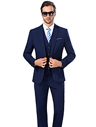 cheap -Suits Standard Fit Notch Viscose / Serge Solid 3 Pieces Royal Blue Dark Blue Buttons / Pockets