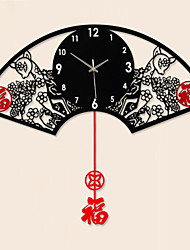 cheap -Creative Fashion Sector Metal Mute Wall Clock
