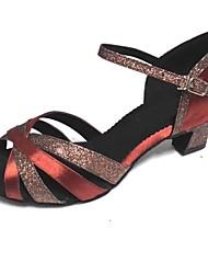 cheap -Women's Latin Shoes Sparkling Glitter / Satin / Silk Sandal Customized Heel Customizable Dance Shoes Brown / Indoor / Performance / Practice / Professional