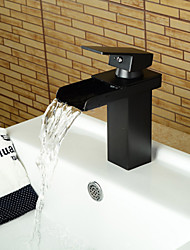 Modern Oil-rubbed Bronze Brass Waterfall Hot and Cold Bathroom Faucet - Black
