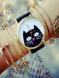 Жен. Модные часы Часы-браслет Кварцевый Секундомер PU Группа Черный Белый Зеленый Розовый Бежевый