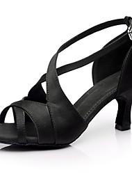 billige -Dansesko(Sort) -Kan tilpasses-Personligt tilpassede hæle-Damer-Latin Salsa