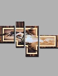 Ručně malované Krajina / Abstraktní krajinkaModerní Čtyři panely Plátno Hang-malované olejomalba For Home dekorace