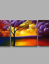 Ručně malované Krajina / Květinový/Botanický motiv / Abstraktní krajinkaModerní Tři panely Plátno Hang-malované olejomalba For Home