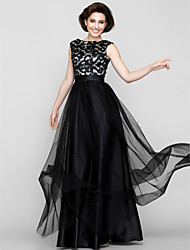 cheap -A-Line Scoop Neck Floor Length Tulle Mother of the Bride Dress with Pattern / Print by LAN TING BRIDE®