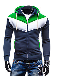 cheap -Men's Plus Size Daily Casual Hoodie Jacket Color Block Cotton Polyester Long Sleeve Fall