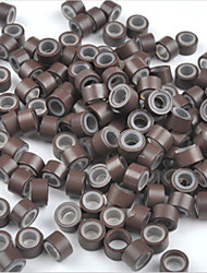 5mm Silicone Lined MICRO Rings Link Crimp Beads I/U/Flat tip Hair Extensions 500pcs Brown