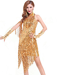 cheap -Latin Dance Dresses Women's Performance Chinlon Sequin / Tassel Dress