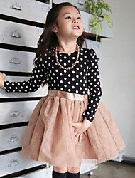 Girl's Blue / Pink Dress , Dot Polyester Spring / Fall
