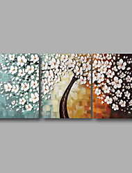 "cheap -Ready to Hang Stretched Hand-painted Oil Painting 60""x24"" Three Panels Canvas Wall Art White Blossom Flowers"