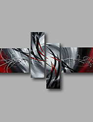 Ready to Hang Stretched Hand-Painted Oil Painting Four Panels Canvas Wall Art Modern Grey Red Silver Abstract