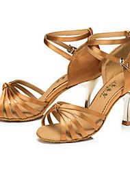 Women's Latin Satin Sneaker Indoor Outdoor Stiletto Heel Bronze Black Customizable