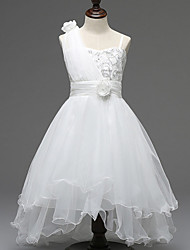 A-Line Asymmetrical Flower Girl Dress - Polyester Tulle Sleeveless One Shoulder with Flower by YDN