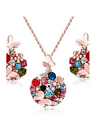 High Quality Crystal Lovely Butterfly Multicolor Jewelry Set Necklace Earring (Assorted Color)