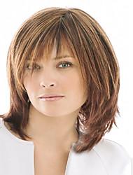 お買い得  -人工毛ウィッグ ウェーブ 合成 ブラウン かつら 女性用 ショート キャップレス