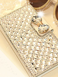 cheap -Luxury Bling Crystal & Diamond Leather Flip Case Bag with Card Slot For iPhone 6s 6 Plus