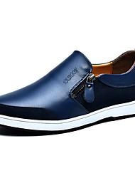 povoljno -Muškarci Cipele Koža Proljeće Jesen Vulkanizirane cipele Udobne cipele Natikače i mokasinke Elastika za Kauzalni Crn Braon Plava