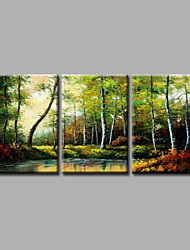 cheap -Ready to Hang Stretched Framed Hand-Painted Oil Painting Canvas Wall Art Forest Trees Heavy Oils with Pallet Knife