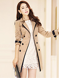 cheap -Women's Daily Simple Casual Spring Fall Trench coat,Solid Notch Lapel Long Sleeve Regular Polyester Classic Style