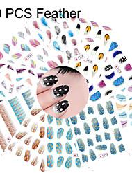 billige -10 pcs Halv Negle Tipper Vandoverførings klistermærke Negle kunst Manicure Pedicure Smuk Bryllup