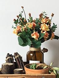 10 cabeças / buquê estilo de pintura a óleo com bainha rosa bouquet decoração de casa