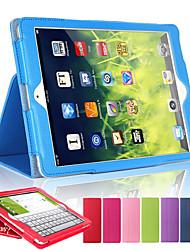 Недорогие -DE JI Кейс для Назначение Apple со стендом / С функцией автовывода из режима сна Чехол Однотонный Твердый Кожа PU для iPad Air / iPad 4/3/2 / iPad Mini 3/2/1 / iPad (2017)