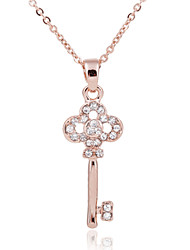18K Golden Plated Key Shape Pendant with Zircon Necklace,Tiny Necklace
