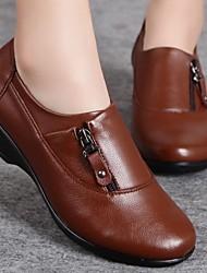Women's Shoes Leisure Zipper Wedge Heel Comfort / Round Toe Oxfords Casual Black / Brown