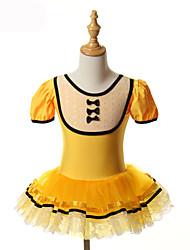 baratos -Balé Vestidos Tutus Tutos e Saias Crianças Treino Espetáculo Elastano Tule Laço(s) Manga Curta Halloween Princesa Vestido