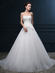 Ball Gown Sweetheart Chapel Train Organza Satin Wedding Dress with Sequin by LAN TING BRIDE®
