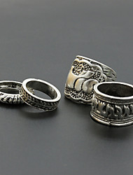 Vintage Elephant Shape Adjustable Ring Set Midi Rings(4pcs)
