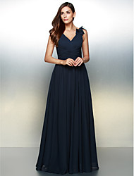 cheap -A-Line V Neck Floor Length Chiffon Formal Evening Dress with Flower by TS Couture®
