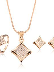 Gioielli 1 collana / 1 paio di orecchini / Anelli Matrimonio / Feste / Quotidiano / Casual 1 Set Da donna Oro Regali di nozze