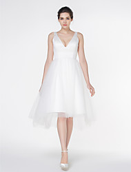 cheap -A-Line V Neck Asymmetrical Satin Tulle Custom Wedding Dresses with Draping by LAN TING BRIDE®