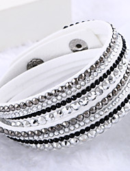 cheap -Leather Bracelets Multilayer Wrap Bracelet Rhinestone Bracelets Fashion Jewelry  for Bestfriend chain Bracelet 1 pc Lureme® Gifts