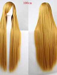 abordables -Pelucas sintéticas Recto Dorado Corte asimétrico Pelo sintético Entradas Naturales Dorado Peluca Mujer Larga Sin Tapa