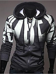 Men's Plus Size Sports Casual/Daily Simple Active Hoodie Jacket Letter Cotton Long Sleeve Spring Fall Winter