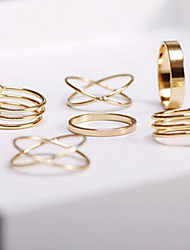 cheap -Alloy Multilayer Shape Adjustable Ring Set Midi Rings(Set of 6)