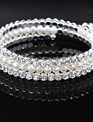 cheap -Fine Jewelry Silver Crystal Pearl Elastic Bangle Bracelet for Party