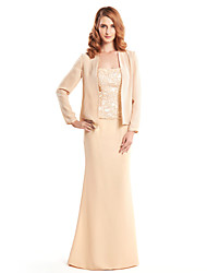 cheap -Mermaid / Trumpet Straps Floor Length Chiffon Mother of the Bride Dress with Lace by LAN TING BRIDE®