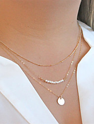 cheap -Women's Pearl Pendant Necklace Chain Necklace - Multi Layer Fashion Golden Necklace For Party Daily Casual