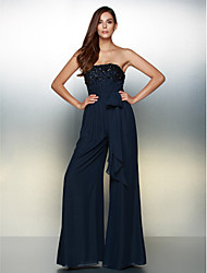 cheap -A-Line Jumpsuit Strapless Floor Length Chiffon Formal Evening Dress with Beading by TS Couture®